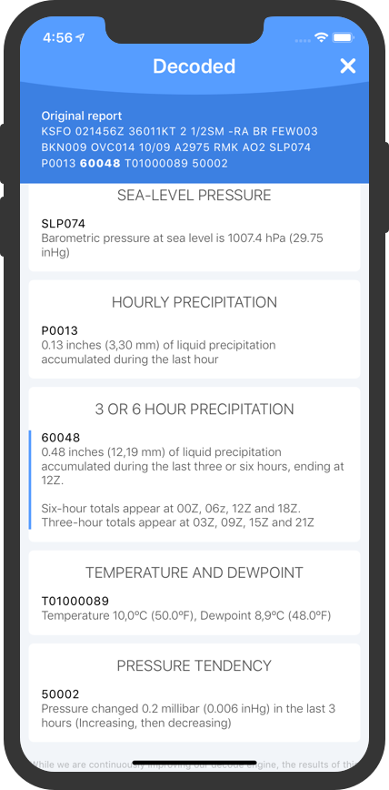 METAR Reader - Your preflight weather companion